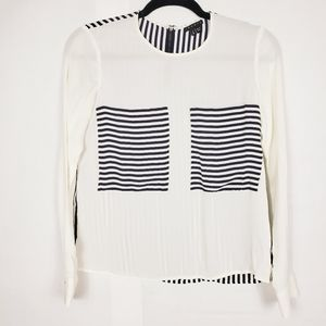 Theory silk blouse black and white